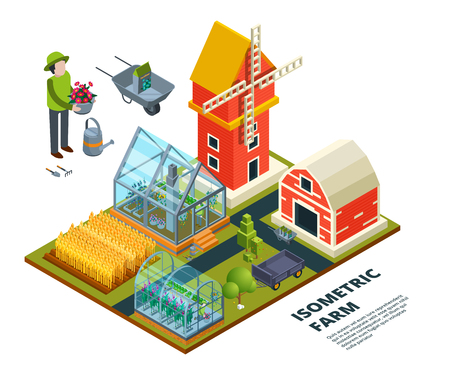Farm greenhouse. Farming country field plantaion glass house fruits vegetables trees plants outdoor vector isometric pictures. Farming greenhouse, agriculture farm with field plantation illustration