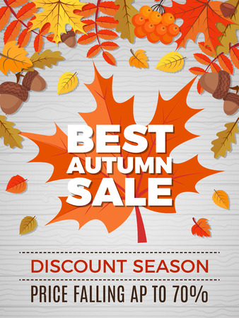 Autumn poster of sales. Orange and yellow leaves falls pictures of nature autumn discount vector banner. Illustration of autumn price discount in market