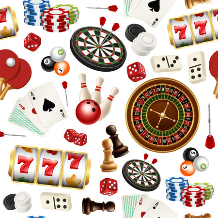 Casino pattern. Poker cards doodle domino bowling darts roulette checkers vector symbols of games seamless realistic illustrations. Poker and roulette, dice and casino gambling Illustration
