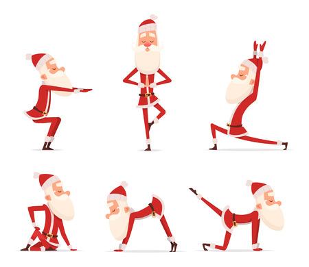 Posturas de santa yoga. Navidad invierno vacaciones deporte carácter saludable de pie en varias poses de relax vector mascota linda aislada. Ilustración de santa claus yoga Foto de archivo - 109387816
