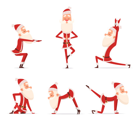 Santa yoga poses. Christmas winter holiday sport healthy character standing in various relax poses vector cute mascot isolated. Illustration of santa claus yoga Vettoriali