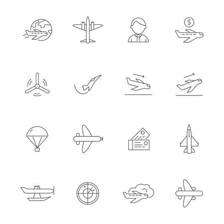 航空機のラインアイコン。Avia社ベクトルアウトライン写真の飛行機の旅のシンボル。飛行機旅行、飛行機、航空概要イラスト
