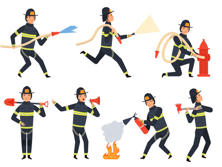 Fireman characters. Rescue firefighter saving helping people water and fire vector mascots in action poses. Firefighter character, fireman fighter illustration Vectores