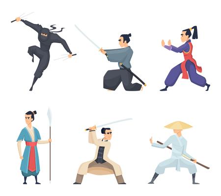 Asian fighter. Man holding katana traditional japan weapon sword samurai ninja vector characters isolated. Samurai japanese with katana, asian fighter illustration