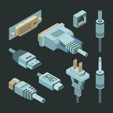 Conectores de enchufe. Vga hand drawnmi video cable electricidad alimentación puerto usb adaptadores de enchufe vector isométrico. Ilustración de enchufe usb con conexión de cable Ilustración de vector