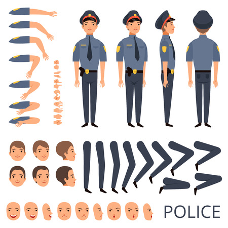 Policeman constructor. Security bodyguard profession character creation kit with shotgun various poses cap officer uniform. Construction part for animation and create illustration vector Banco de Imagens