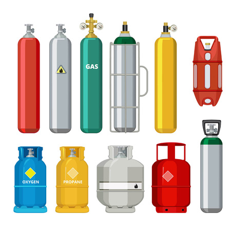 Gas cylinders icons. Petroleum safety fuel metal tank of helium butane acetylene vector cartoon objects isolated. Equipment for safe butane and propane, oxygen balloon illustration Stock Photo