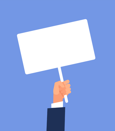 Empty sign in hand. Hands holding blank protest poster. Cartoon vector illustration. Placard and poster empty, protest announcement board 스톡 콘텐츠