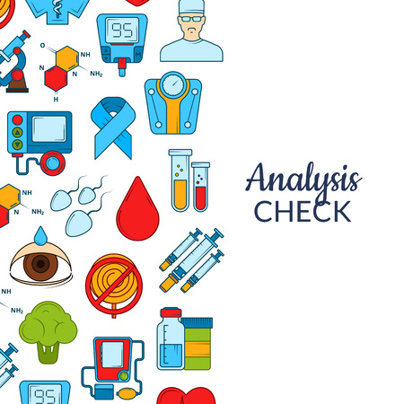Vector colored diabetes icons background with place for text illustration