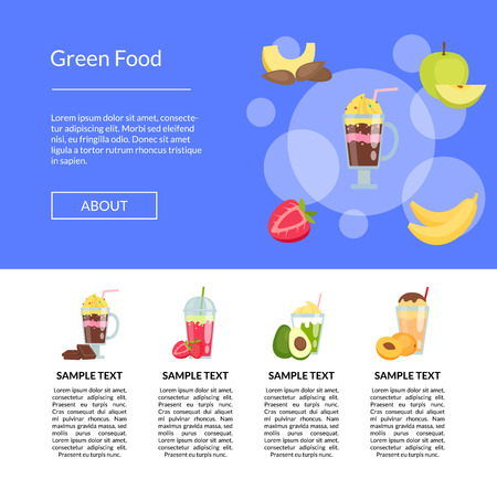 Vector flat smoothie elements landing page template illustration. Web site and banner Illustration