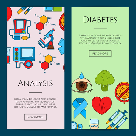 Vector colored diabetes icons web banner templates illustration. Poster analysis color