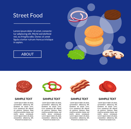 Vector isometric burger ingredients landing page template illustration. Info banner poster