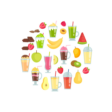 Vector flat smoothie elements in circle shape illustration isolated on white