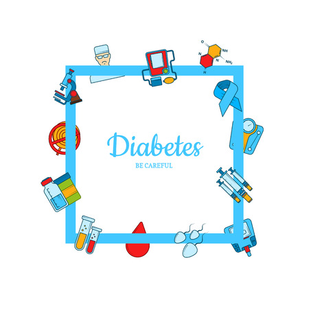 Icônes de diabète colorées de vecteur volant autour du cadre avec place pour l'illustration de texte Vecteurs