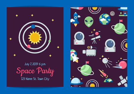 Vector flat space icons party invitation template illustration. Banner in cosmos style
