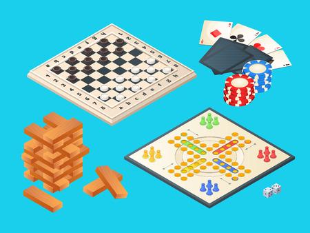 Jeux de société. Images isométriques vectorielles de divers jeux de société. Jeu de table, pyramide de blocs, dames et illustration de cartes