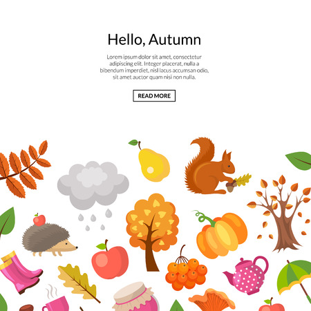 Vector cartoon autumn elements and leaves background with place for text illustration. Web banner and poster