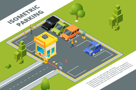 Isometric illustrations of urban paid parking with various cars. Vector car city isometric, auto area parking Stock fotó