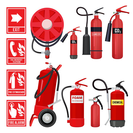 Red fire extinguisher. Firefighter tools for flame protection vector illustrations of various extinguisher types. Fire instruction extinguishing signboard