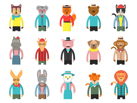 Zoo characters hipsters. Cartoon animals front view game avatars of fox bear dog giraffe owl cat and others vector mascots. Hipster wild animal, cat and monkey, lion and tiger illustration Stock Photo