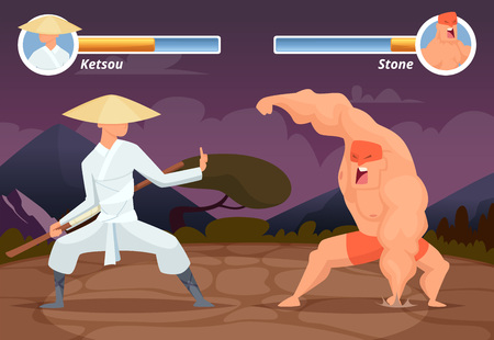 Game fighting. Screen location of computer 2D gaming asian fighter vs wrestler luchador vector background. Video game screen app, battle and combat player illustration Stock Photo