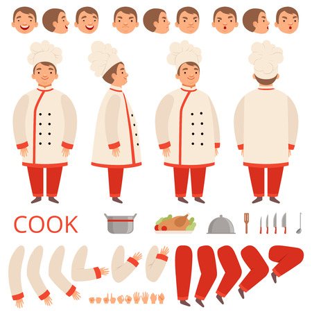 Cook animation. Chef characters body parts hands arms head and clothes with kitchen tools vector kit creation. Chef character professional constructor face, leg and hand illustration