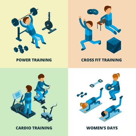 Fitness center isometric. Sport athlete people making power and cardio exercise aerobic in gym vector pictures. Illustration of cardio and aerobic training, exercise fitness, athletic 3d isometry
