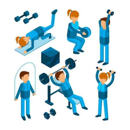 People in gym. Sport characters making cardio strength body pump exercises in fitness center vector illustrations. Woman and man exercise training, equipment for sport gym and fitness Stockfoto