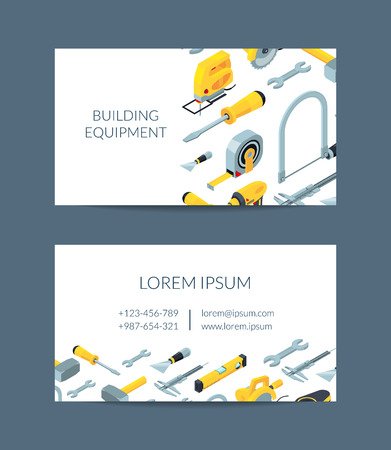 Vector construction tools isometric icons business card template for hardware store illustration. Company instrument for construction and repair