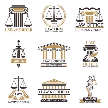 Abzeichen von Recht und Recht. Hammer des Richters, Gesetzbuch schwarze Abbildungen von Etiketten für die Rechtsprechung. Rechtliche Hinweise Vektorbilder. Justiz und Anwalt, Gericht und Behörde Vektorgrafik