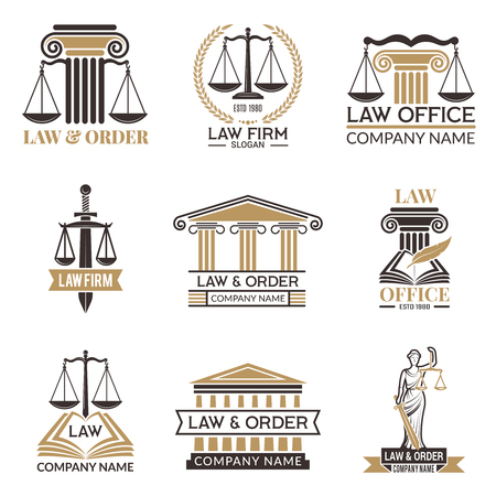 Badges of law and legal. Hammer of judge, legal code black illustrations of labels for jurisprudence. Legal notes vector pictures. Justice and lawyer, court and authority Vector Illustration