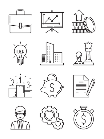 Business line icons. Money finance starting startup strategy team vector symbols isolated. Illustration of finance strategy for business, money and startup