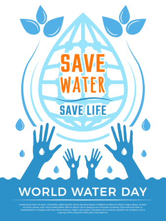 Save water. Aqua liquid drops healthcare poster vector concept picture for water day. Illustration of ecology environment, water aqua protection poster Illustration
