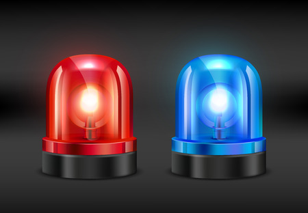 Police siren. Vector realistic pictures of fire or police siren. Illustration of flasher alarm light, police or fire emergency