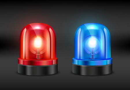 Sirene de police. Images réalistes de vecteur de sirène d'incendie ou de police. Illustration du voyant d'alarme clignotant, de la police ou de l'incendie