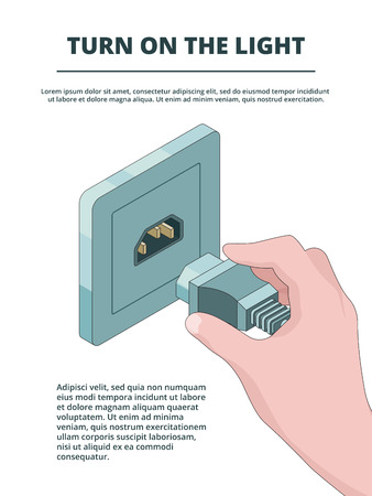 Electric socket activate. Business concept of electric plug connections with place for your text vector isometric. Illustration of plug electric, electricity connection cable, turn light Illustration