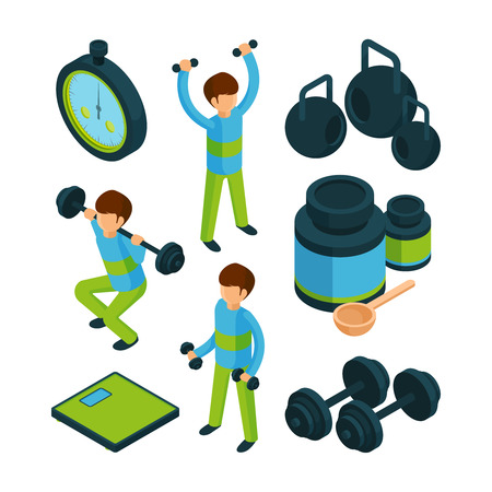 Sport exercise isometric. Equipment for sporting activity peoples healthy vector 3d collection. Activity exercise training for health illustration Stockfoto