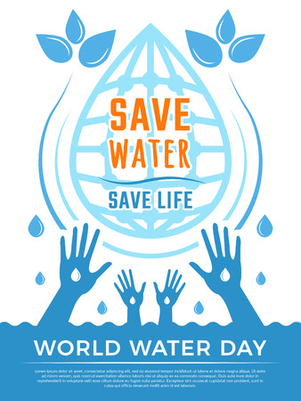 Save water. Aqua liquid drops healthcare poster vector concept picture for water day. Illustration of ecology environment, water aqua protection poster Stock Photo