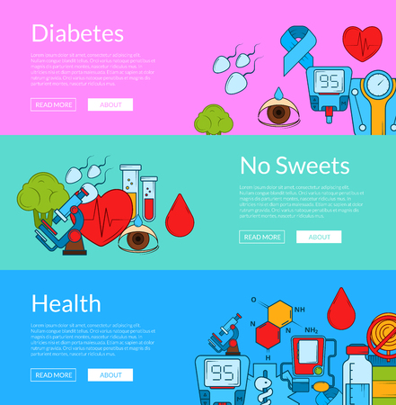 Vector colored diabetes icons web banner templates illustration. Horizontal poster collection Illustration