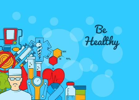 Vektor farbige Diabetes Icons Hintergrund Web Banner für Krankenhaus mit Platz für Textillustration
