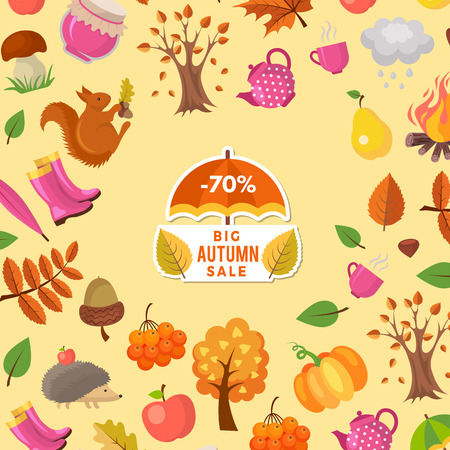 Vector cartoon autumn elements and leaves sale background with place for text illustration. Colored card ot web banner Stok Fotoğraf