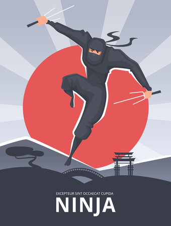 Martial poster. Placard with male aggressive fighter in action pose samurai ninja traditional asian heroes vector character. Ninja male fighter, martial poster with japanese assassin illustration Stock Photo