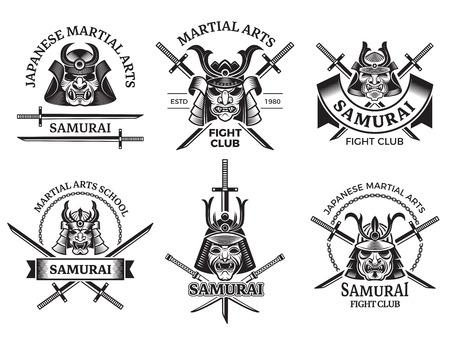 Martial asian labels. Samurai agressive warrior masks and sword katana vector labels logo or tattoo designs. Illustration of japanese samurai school emblem, logo traditional japan martial art Illustration