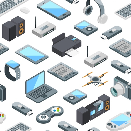 Vector isometric gadgets icons pattern or background illustration. Printer and drone, router and flash drive