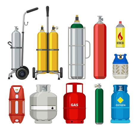 Bombole di gas. Butano elio acetilene propano serbatoio in metallo cilindro petrolifero stazione strumenti illustrazioni vettoriali. Serbatoio butano e propano, bombola del gas