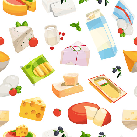 Vector cartoon dairy and cheese products pattern or background illustration. Dairy food, cheese and cream seamless backdrop