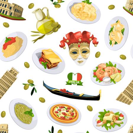 Vector cartoon italian cuisine elements pattern or background illustration. Italian cuisine and architecture pisa, tower