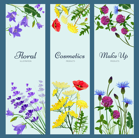 Wildflowers banners. Floral frame with place for text different herb flowers aromatherapy products nature medicine vector pictures. Illustration of natural organic wild botanical flower
