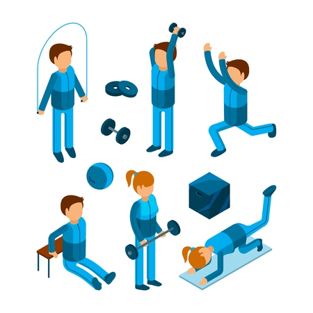 Gym people isometric. Fitness sport characters workout exercises body pump and strength vector 3d low poly models. Illustration of workout 3d exercise, sport gym and fitness people