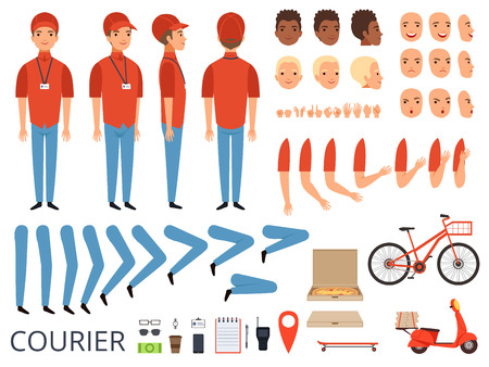Pizza delivery animation. Fast food courier body parts with professional items box bike vector character creation kit. Courier creation kit hand and foot illustration Vectores